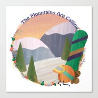 snowboard Canvas Prints featuring Moutains Are Calling - Snowboard by Megs Higgins