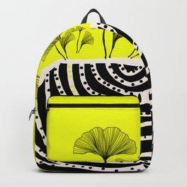 ginko biloba leaves in yellow and black Backpack