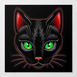 Black Cat Portrait Canvas Print