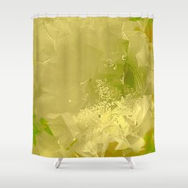 Cactus Orchid Light Green Cubist Shower Curtain
