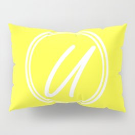 Monogram - Letter U on Electric Yellow Background Pillow Sham