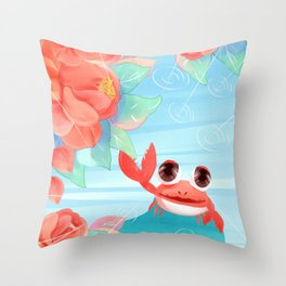 Summer Cute Crab Draw Throw Pillow