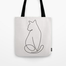 One Line Kitty Tote Bag