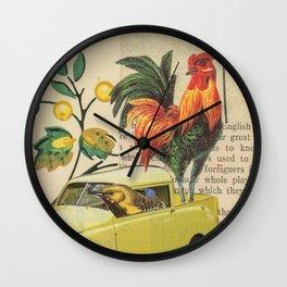 Go, Go, Go - Vintage Collage Wall Clock