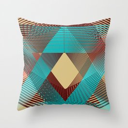 Geometric pattern brown and blue modern  Throw Pillow
