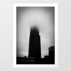 Sears Tower in Fog Chicago Black and White Photo Art Print