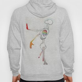 Mr Bones, tall colorful skeleton, NYC artist Hoody