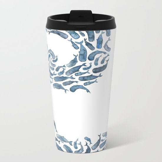 Whale Wave.  Metal Travel Mug