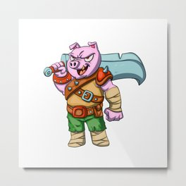 Pig knight cartoon design Metal Print