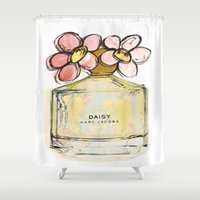 marc Shower Curtains featuring Daisy - Marc Jacob's Perfume Illustrated by Amy frances Illustration