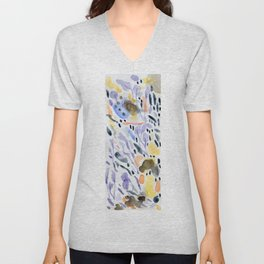 Yellows and purples in watercolor Unisex V-Neck