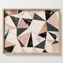 Modern black white marble rose gold glitter foil geometric abstract triangles pattern Serving Tray