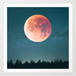 Blood Moon Over the Forest on a Starry Night Art Print