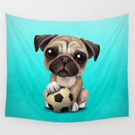 Cute Pug Puppy Dog With Football Soccer Ball Wall Tapestry