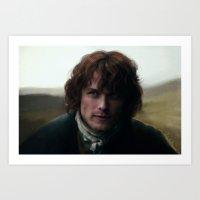 outlander Art Prints featuring Jamie Fraser by LindaMarieAnson