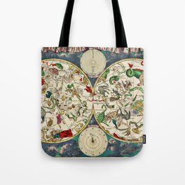 De Wit's Celestial Hemispheres, North and South, 1670 Tote Bag
