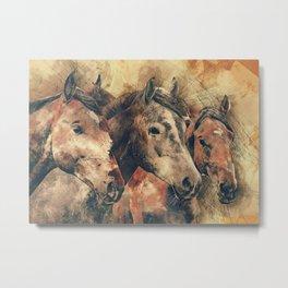 Three brown horses watercolor painting Metal Print