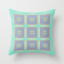 PLACID mint green and mauve squares pattern Throw Pillow