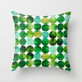 Green Watercolor Circles Pattern Throw Pillow