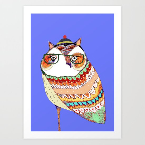 Owl, owl art, owl illustration, owl print,  Art Print