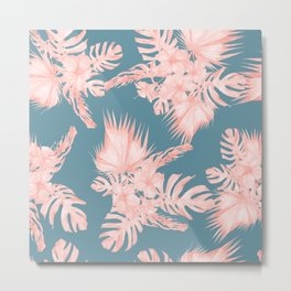 Tropical Palm Leaves Hibiscus Flowers Pink Blue Metal Print
