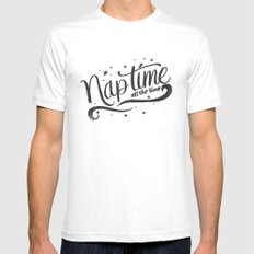 Nap time all the time MEDIUM Mens Fitted Tee White