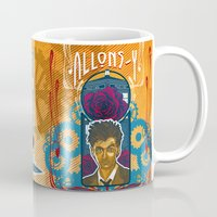 david tennant Mugs featuring Doctor Who, David Tennant Allons-Y 10th Doctor by Tom Ryan's Studio