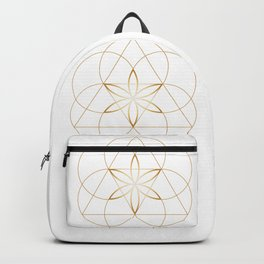 Minimalist Sacred Geometry Flower of Life in Gold and White Backpack