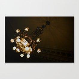 Circular Gold Illuminated Orb Hanging Chandelier Print Canvas Print