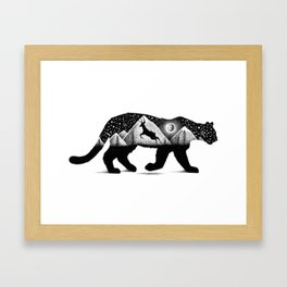 THE MOUNTAIN LION AND THE DEER Framed Art Print
