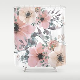 Peach Blush Watercolor Flowers Shower Curtain