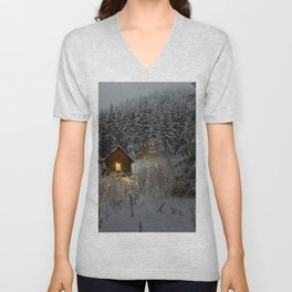 Tiny Cabin In The Winter Forest Snow Covered Pine Trees Unisex V-Neck