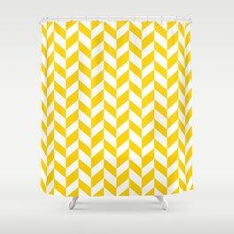 Herringbone Texture (Yellow & White) Shower Curtain