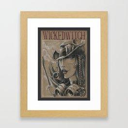 Witch in steam-punk style (DRAWLLOWEEN 6/31) Framed Art Print