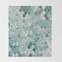 Mermaid Glitter Scales #3 #shiny #decor #art #society6 Throw Blanket