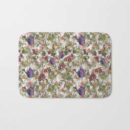 Floral with Watering Can Bath Mat