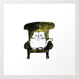 Staring Cat (Yellow) Art Print