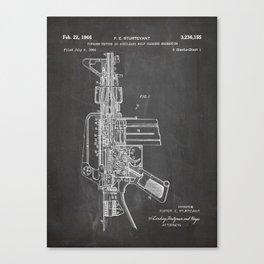 M16 Rifle Patent - Military Rifle Art - Black Chalkboard Canvas Print