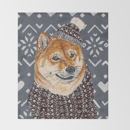 Shiba Inu in a  Hat and Scarf Throw Blanket