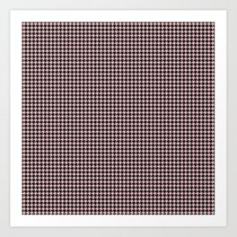 Pale Millennial Pink Pastel and Black Houndstooth Check Art Print