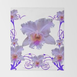 WHITE CATTLEYA ORCHIDS & PURPLE  ART Throw Blanket