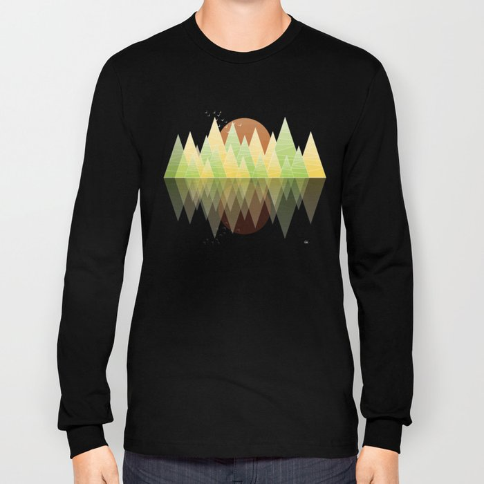 Geometric Lake Mountain II - Summer Long Sleeve T-shirt