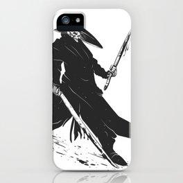 Samurai skull - japanese evil - black and white - fighter illustration - grim reaper cartoon iPhone Case