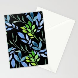 Blue and Green Leaves Stationery Cards