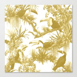 Toucans and Bromeliads - Spicy Mustard Canvas Print