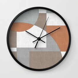 Geometric Intersecting Circles and Rectangles in Grey and Cinnamom Wall Clock