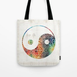 Yin And Yang - Colorful Peace - By Sharon Cummings Tote Bag