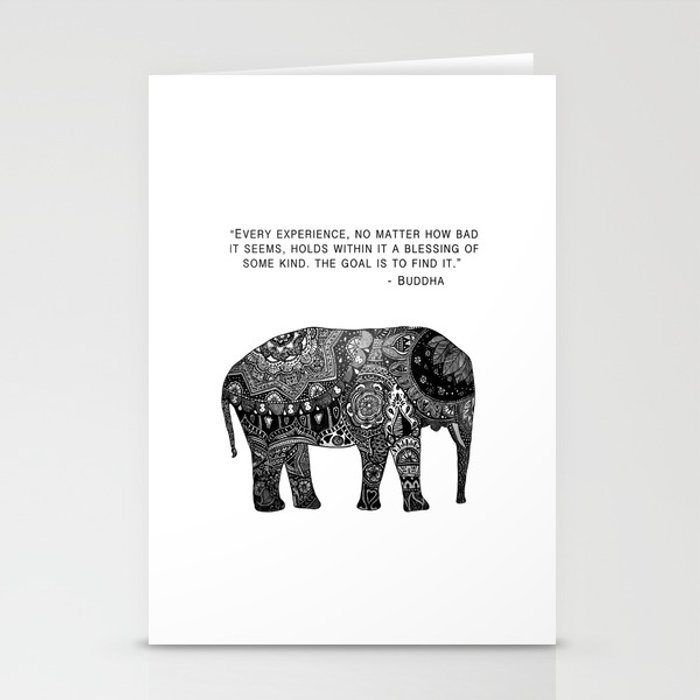Buddha Quote With Henna Elephant Stationery Cards By