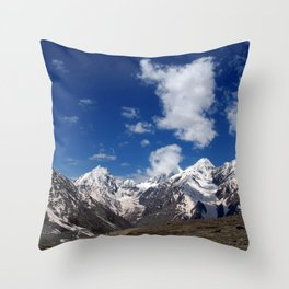 Snow Topped Mountains in the Spiti Valley Throw Pillow