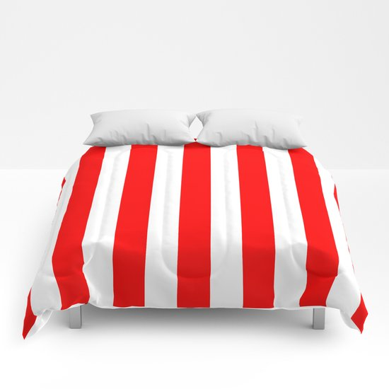 Vertical Stripes (Red/White) Comforters